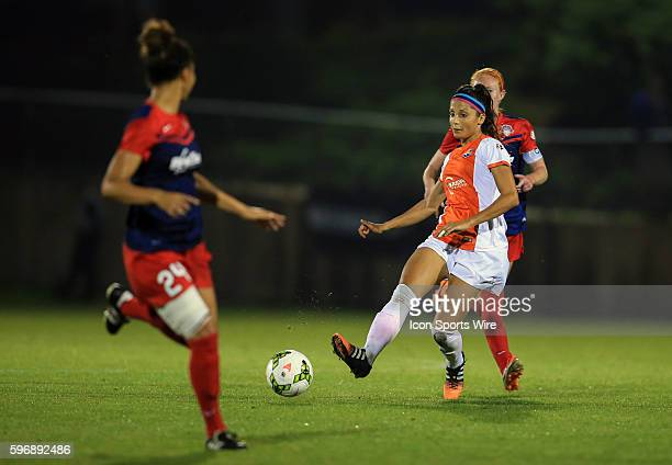 Sky Blue FC forward Nadia Nadim passes away from Washington Spirit defender Estelle Johnson during a NWSL match at the Maryland Soccerplex in Boyds...