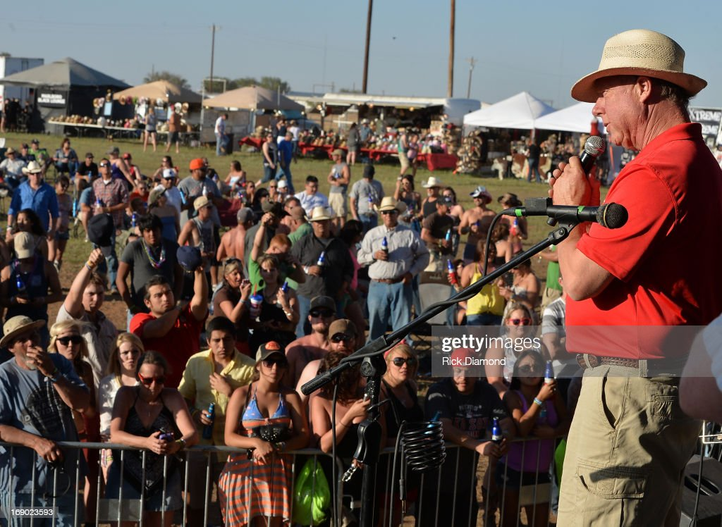 Mayor Tommy Muska of devastated West, Texas thanks the crowd at Texas Thunder Festival 2013 - Day 2. May 18, 2013 in Gardendale, Texas.