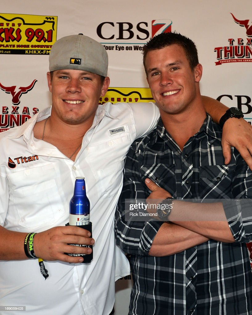 West, TX. Jarrod Harris and Heath Harris, sons of Capt. Kenneth 'Luckey' Harris, Jr, who was killed in the West, TX fertilizer plant explosion Wednesday, April 17th. backstage at Texas Thunder Festival 2013 - Day 2. May 18, 2013 in Gardendale, Texas.