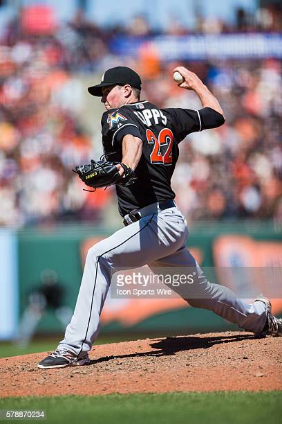 Miami Marlins relief pitcher Carter Capps pitching during the game between the San Francisco Giants and the Miami Marlins at ATT Park in San...