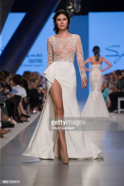 A model walks the runway during Designer Speranza Couture's show at Arab Fashion Week Ready Couture Resort 2018 on May 182017 at Meydan in Dubai...