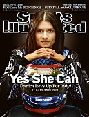 May 19 2008 Sports Illustrated Cover Auto Racing IndyCar Series Closeup portrait of Danica Patrick with helmet at Indianapolis Motor Speedway...