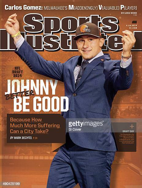 Football NFL Draft Cleveland Browns QB and No 22 overall pick Johnny Manziel victorious on stage during selection process at Radio City Music Hall...