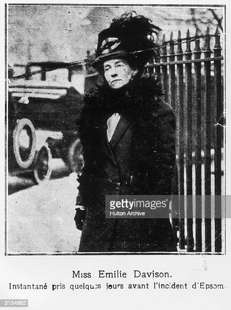 Emily Davison a few days before her fatal attempt to stop the King's horse 'Amner' on Derby Day to draw attention to the Women's Suffragette movement