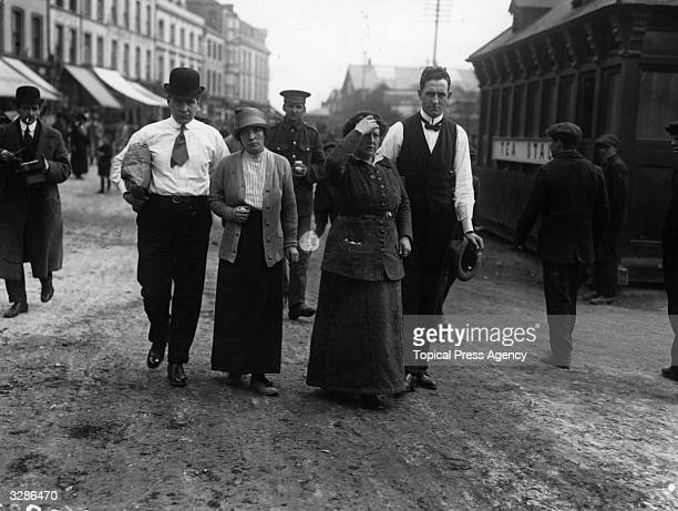 Survivors from the 'Lusitania' which was sunk by a German Uboat torpedo walking the streets of Cobh County Cork