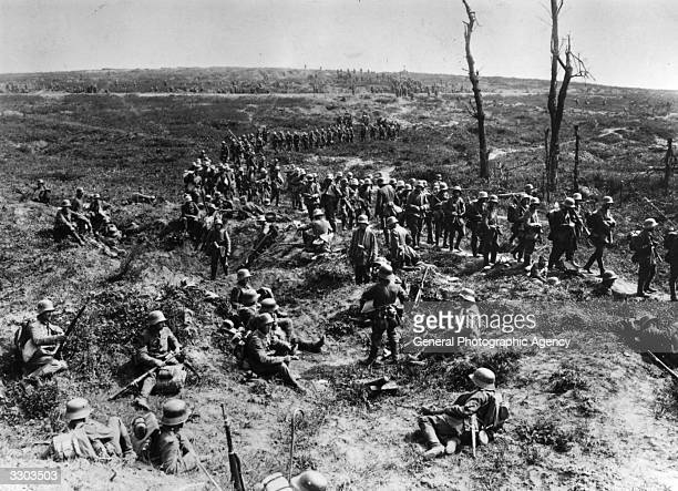 German infantry retreating in a column across the desolate countryside near Chemin des Dames France