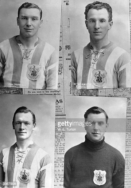 Four Huddersfield Town Football Club players Clockwise from top left Clem Stephenson W H Smith E Davis and G Slade