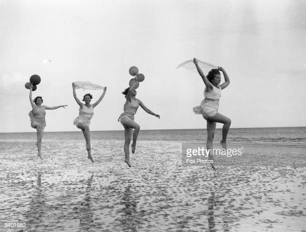 Dancing school pupils practice en plein air at Worthing in East Sussex