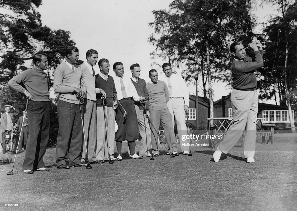 The American Ryder Cup Team watch as their captain Walter Hagen gets in some driving practice at Addington Mandatory Credit Allsport Hulton/Archive