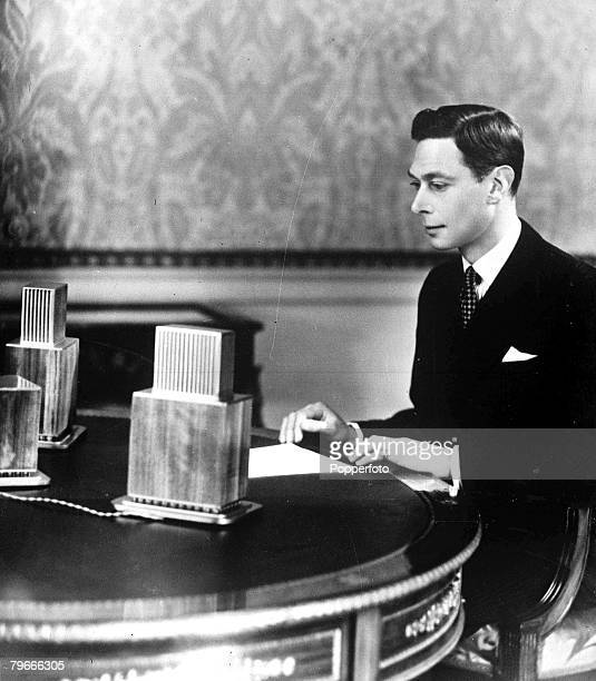 May 1937 London England King George VI about to broadcast to the nation from Buckingham Palace