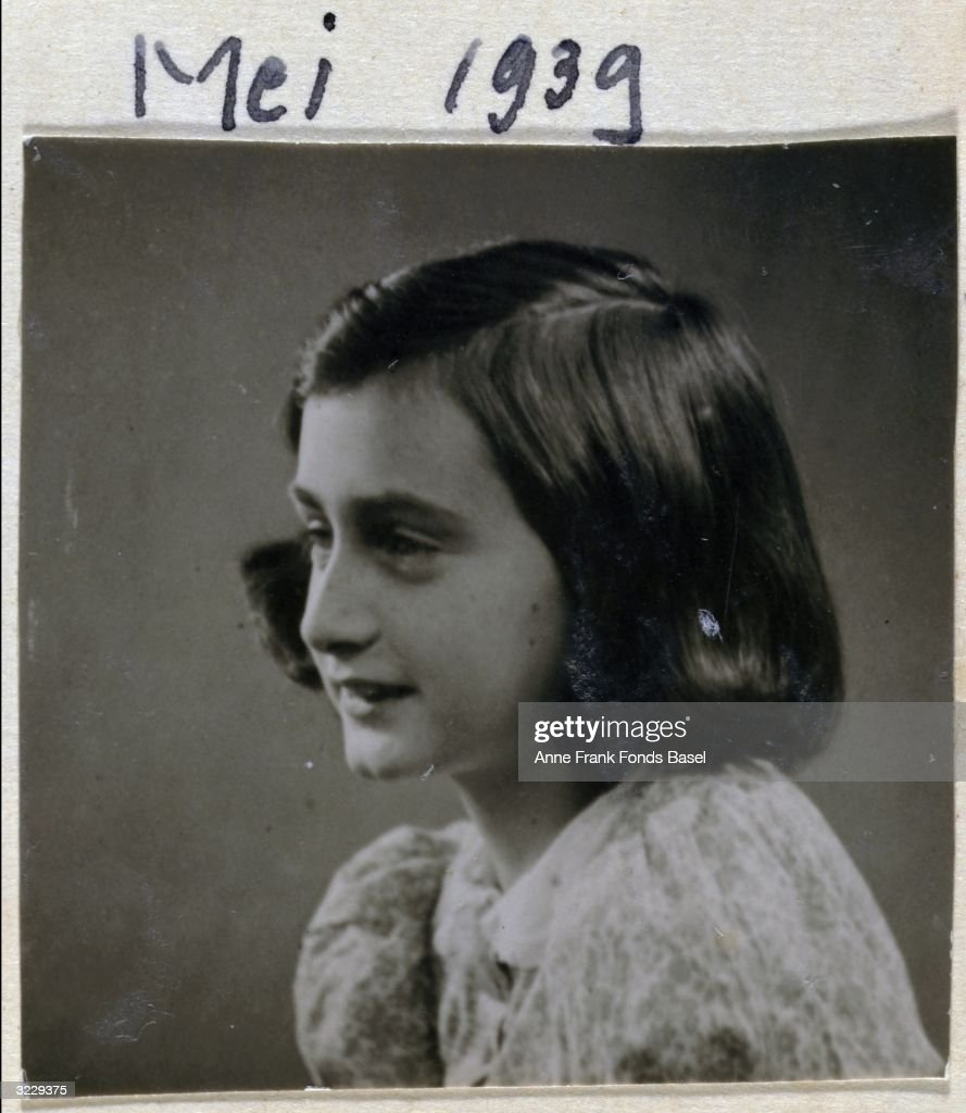 Passport photo of <a gi-track='captionPersonalityLinkClicked' href=/galleries/search?phrase=Anne+Frank&family=editorial&specificpeople=173492 ng-click='$event.stopPropagation()'>Anne Frank</a> (1929 - 1945) in profile, taken from her photo album, Amsterdam, Holland.