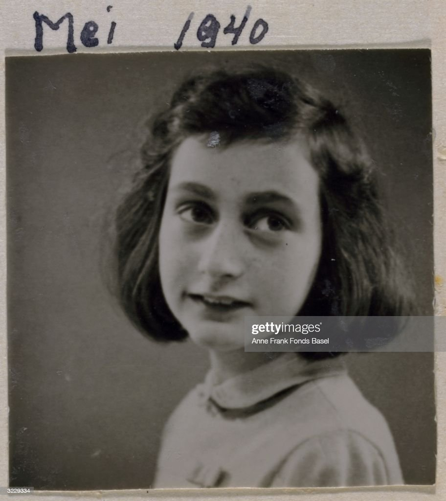 Passport photo of <a gi-track='captionPersonalityLinkClicked' href=/galleries/search?phrase=Anne+Frank&family=editorial&specificpeople=173492 ng-click='$event.stopPropagation()'>Anne Frank</a> (1929 - 1945) looking to her left, taken from her photo album, Amsterdam, Holland.