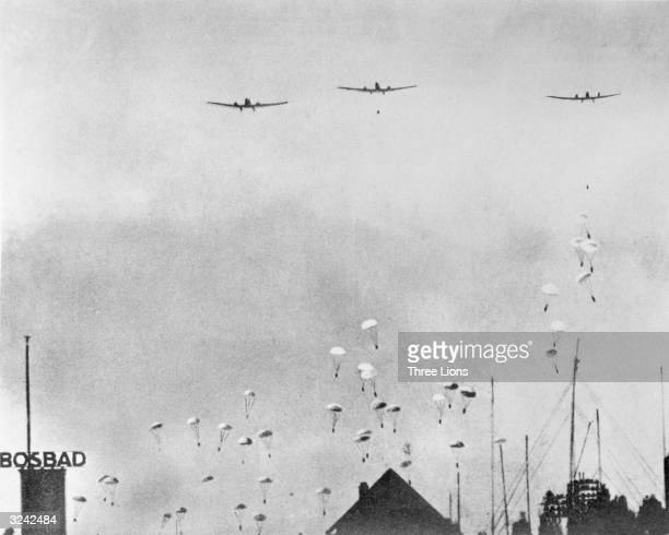German parachutists dropping on The Hague in the Netherlands during World War II