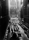 The interior of Westminster Abbey after a German bombing raid