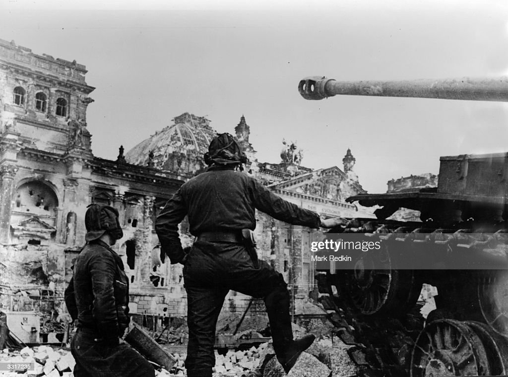 A Soviet tank faces the badly damaged Reichstag building in Berlin where the last desperate pocket of German resistance was finally crushed
