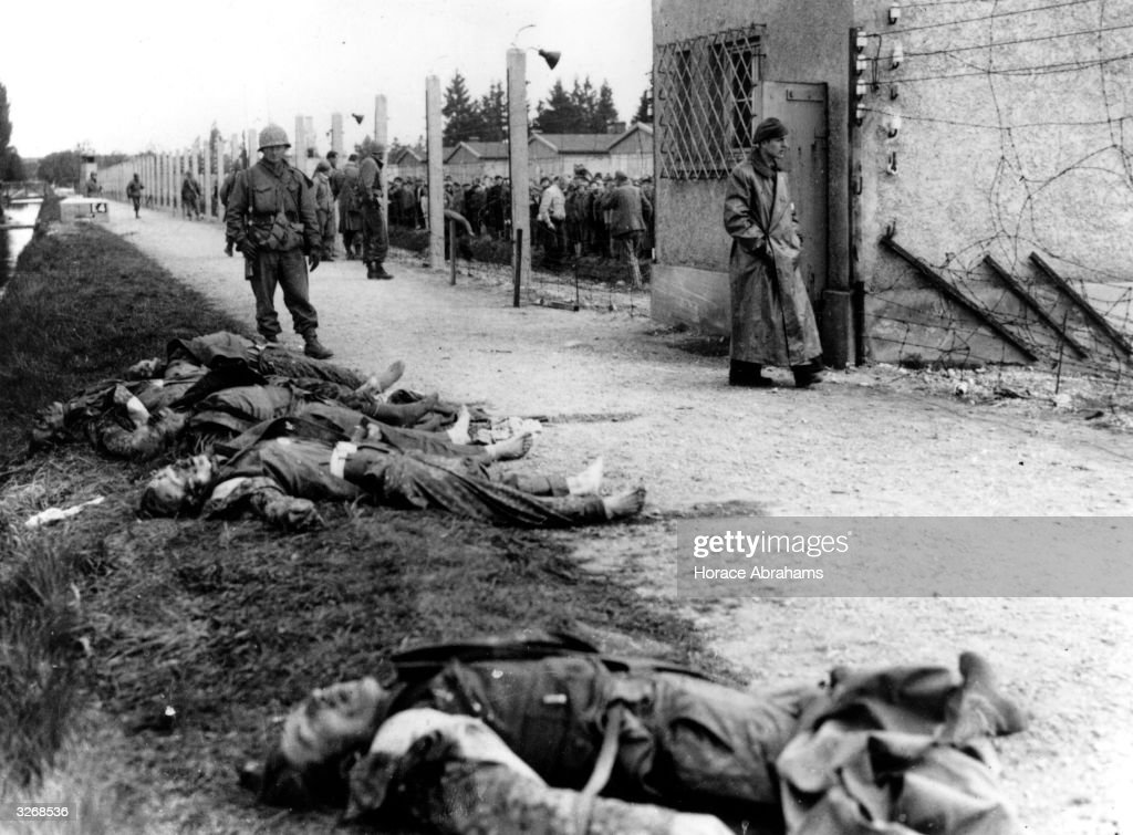 Dead SS guards at Dachau concentration camp, killed by the prisoners.