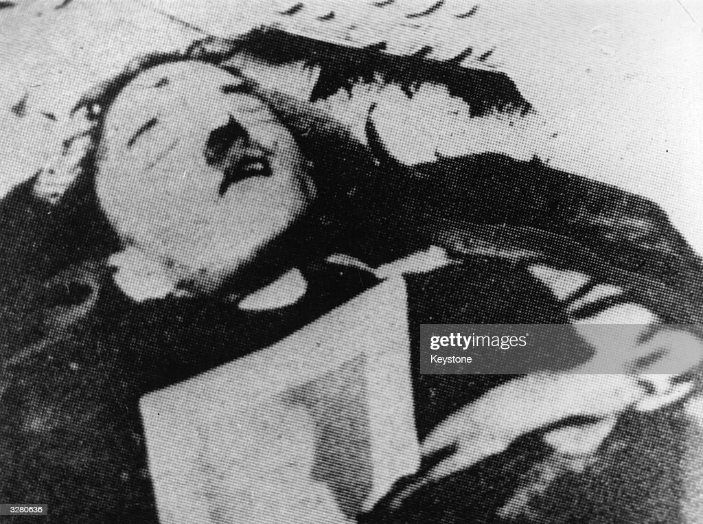 The supposed corpse of German Fuhrer Adolf Hitler, which turned out to be the body of a double, found in the ruins of the Reichskanzlei.