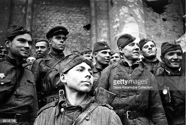 Victorious Russian soldiers in Berlin Germany at the end of the Second World War