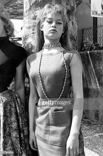 French actress Brigitte Bardot wearing a sleeveless dress at the Cannes film festival Original Publication Picture Post 8378 Discovery At Cannes pub...