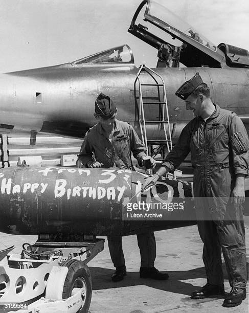Captain Mark A Anderson and First Lieutenant Robert G Pollock F100 Supersabre pilots from the 510th Tactical Fighter Squadron of the US Air Force...