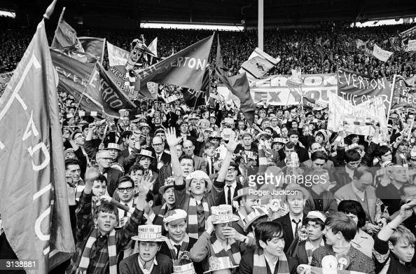 Everton supporters giving strong vocal support for the Merseyside team at the FA Cup Final which they won beating Sheffield Wednesday 3 2 Charles...