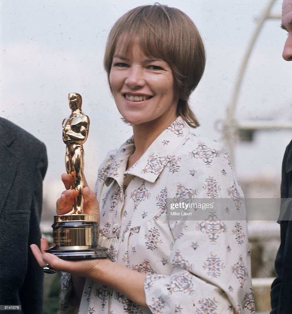 British actress Glenda Jackson holding the Oscar which she won for her role as Gudrun in 'Women in Love'.