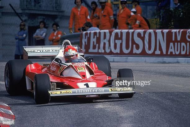 Ferrari driver Niki Lauda in action during the Formula One Monaco Grand Prix in Monaco Mandatory Credit Tony Duffy /Allsport