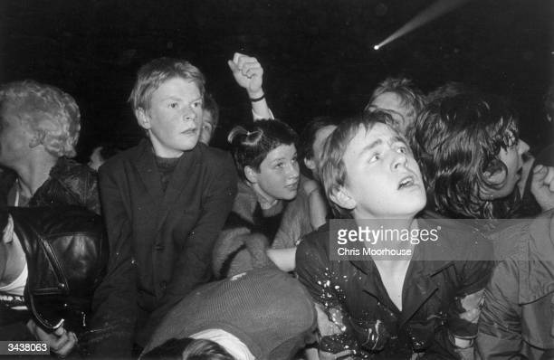 Punk fans at the Rainbow during the 'Jam and Clash' gig