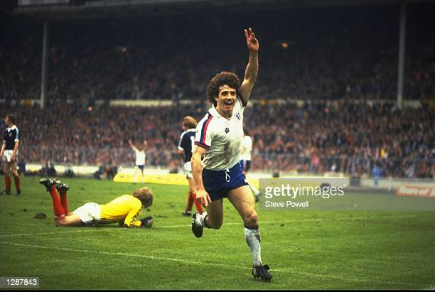 Kevin Keegan of England celebrates his goal during a match against Scotland at Wembley Stadium in London England won the match 31 Mandatory Credit...