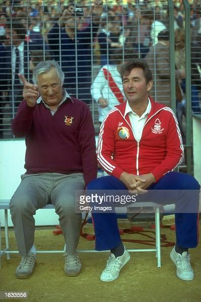 Nottingham Forest Assistant Manager Peter Taylor and Manager Brian Clough watch the European Cup final against Malmo FF at the Olympic Stadium in...