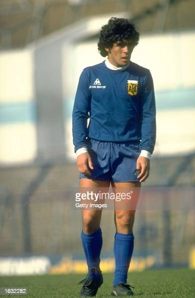 Diego Maradona of Agentina takes a rest during a training session Mandatory Credit Allsport UK /Allsport