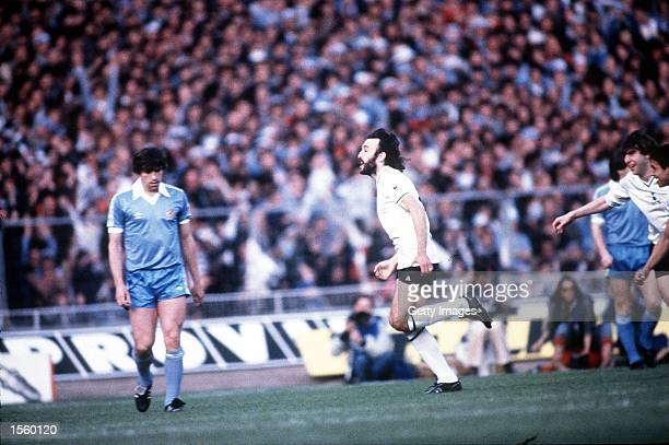 Ricky Villa of Tottenham scores the first goal during the FA Cup Final between Tottenham Hotspur and Manchester City played at Wembley London...