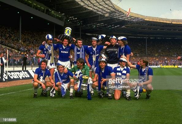Everton celebrate their victory after the Football Association Cup Final match against Watford at Wembley Stadium in Wembley London Everton won the...