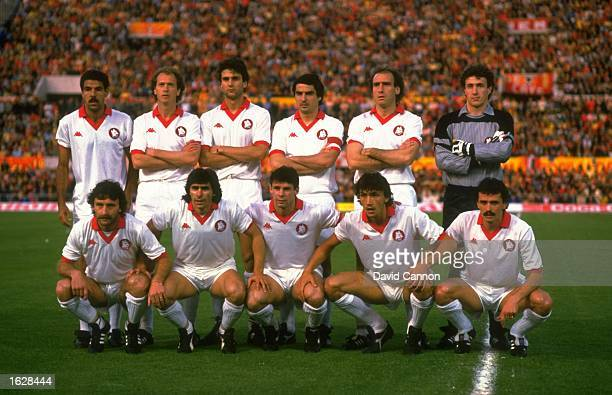 The AS Roma team pose for a photograph before the European Cup Final against Liverpool at the Olympic Stadium in Rome The match ended in a 11 draw...