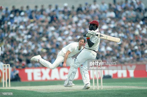 Viv Richards of the West Indies hooks Derek Pringle of England for another four on his way to a record 189 not out during the One Day International...