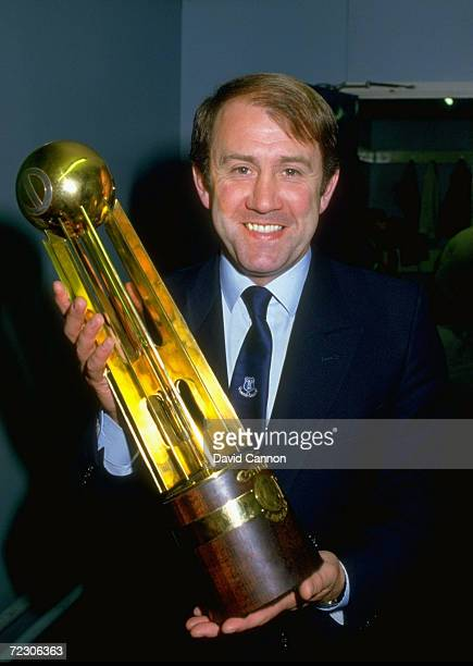 Everton manager Howard Kendall holds the Canon League Division One trophy after the match against West Ham United at Goodison Park in Liverpool...