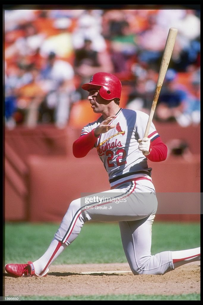 Jack Clark of the St Louis Cardinals swings the bat during a game against the San Francisco Giants at Candlestick Park in San Francisco California...