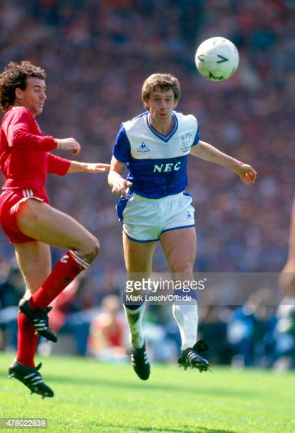 10 May 1986 FA Cup Final Kevin Sheedy of Everton heads the ball before Craig Johnston of Liverpool can get to it