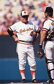 Manager Earl Weaver of the Baltimore Orioles talks with catcher Rick Dempsey on the mound during a pitching change in an Orioles home game Mandatory...