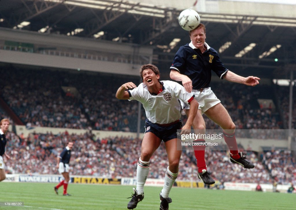 21 May 1988 Football International - England v Scotland - Scottish defender Steve Nicol jumps higher than Gary Lineker to head the ball clear.