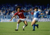 Ruud Gullit of AC Milan and Diego Maradona in action during the Italian Serie A in Napoli Italy Milan won the match 32 Mandatory Credit Allsport UK...