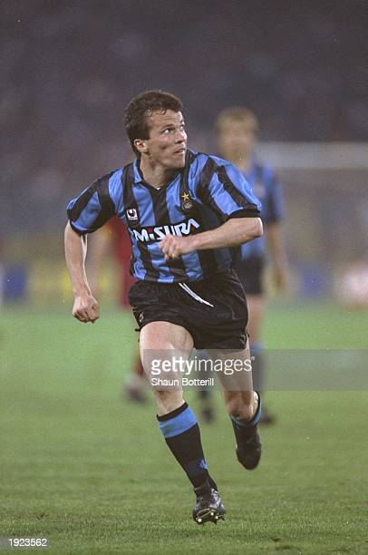 Lothar Matthaus of Inter Milan in action during the UEFA Cup final against AS Roma at the Olympic Stadium in Rome Inter Milan won the match 21...