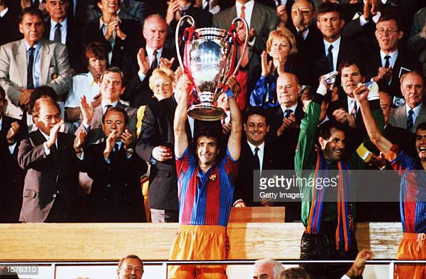 Alexanco of Barcelona lifts the European Cup trophy after their victory over Sampdoria in the European Cup Final played at Wembley London Barcelona...