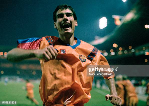 20 May 1992 Wembley European Cup Final Barcelona v Sampdoria Pep Guardiola of CF Barcelona celebrates the victory for his team