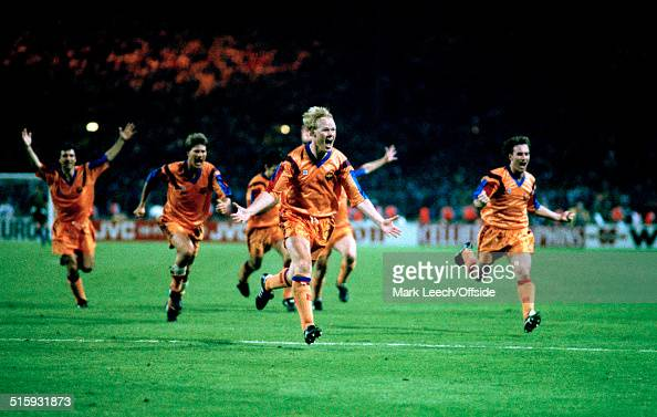 20 May 1992 Wembley European Cup Final Barcelona v Sampdoria Ronald Koeman of Barcelona celebrates after scoring the winning goal