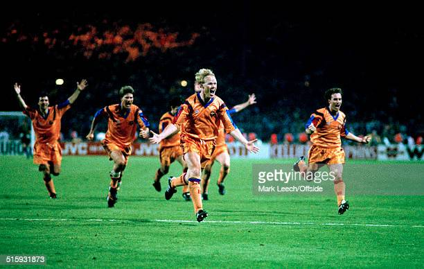 20 May 1992 Wembley European Cup Final Barcelona v Sampdoria Ronald Koeman of Barcelona celebrates after scoring the winning goal