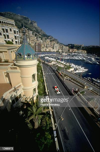Aerial view of Ayrton Senna of Brazil in action in his McLaren Ford during the Monaco Grand Prix at the Monte Carlo circuit in Monaco Senna finished...