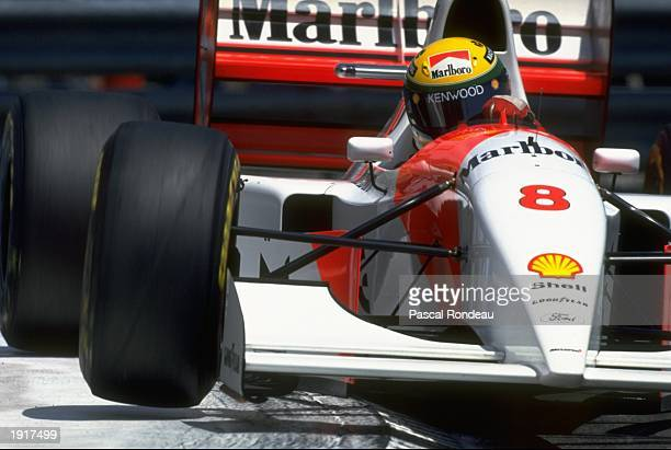 Ayrton Senna of Brazil clips a corner in his McLaren Ford during the Monaco Grand Prix at the Monte Carlo circuit in Monaco Senna finished the race...
