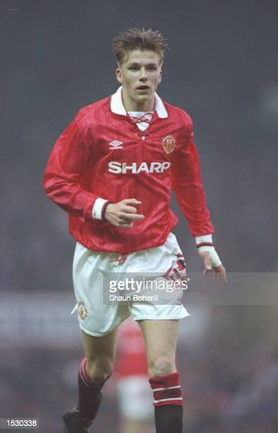 David Beckham of Manchester United youth team in action at Old Trafford Mandatory Credit Shaun Botterill/Allsport