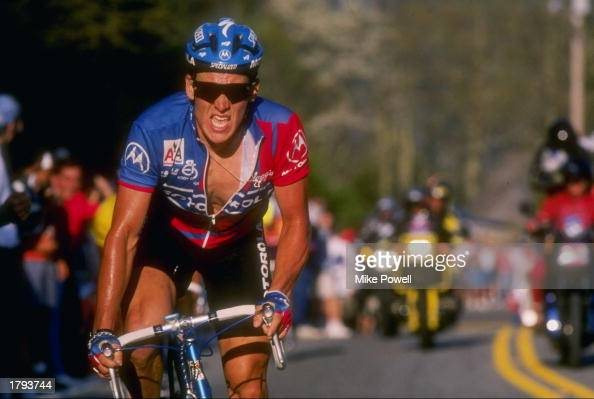 Lance Armstrong of the United States climbs Beech Mountain during the Tour Dupont Mandatory Credit Mike Powell /Allsport